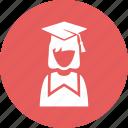 graduate, mortar board, schoolgirl, student icon