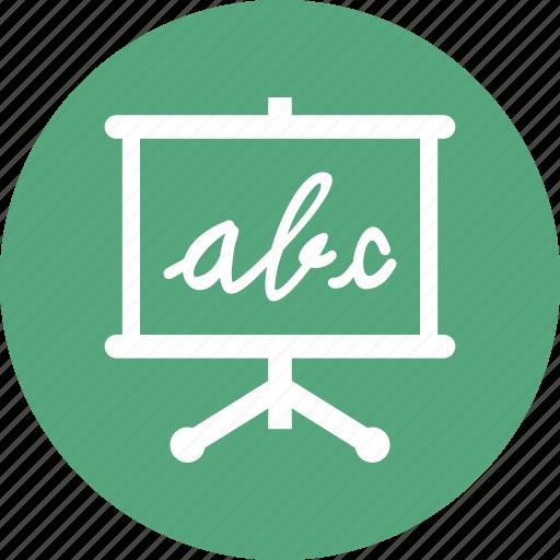 alphabet, blackboard, education, school icon