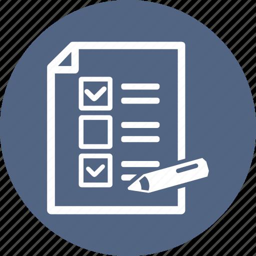checklist, school test, tasks, to do list icon