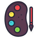 academy, brush, color, paint, pallete icon