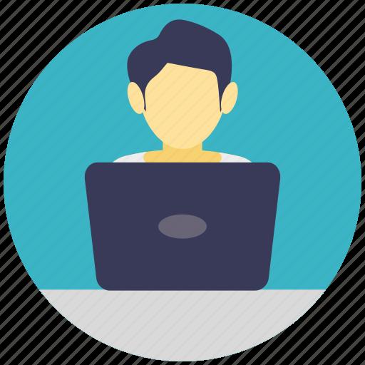 internet surfing, internet user, laptop user, office work, remote employee icon