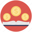 book with coins, business education, financial education, financial literacy, history of economics icon