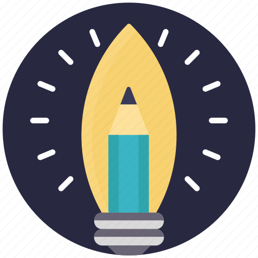 education, education illumination concept, education inspirations, pencil inside bulb, sparkling pencil icon