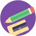 office supplies, pencil, school supplies, sharpener, stationery icon