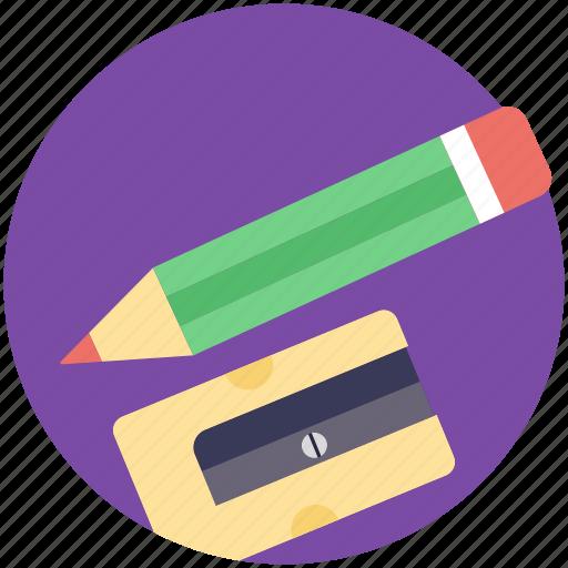 office supplies, pencil, school supplies, sharpener, stationery icon