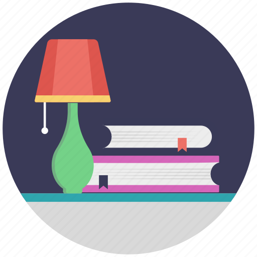 lamp with books, study, study corner, study space, study table icon