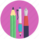 office supplies, pencil and pens, school supplies, stationery, writing material icon