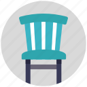 armless chair, blue color chair, chair, furniture, seat icon