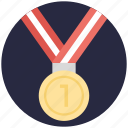 1st position, medal, position holder, star medal, winner icon