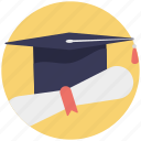education concept, graduate degree, graduation, mortarboard with degree icon