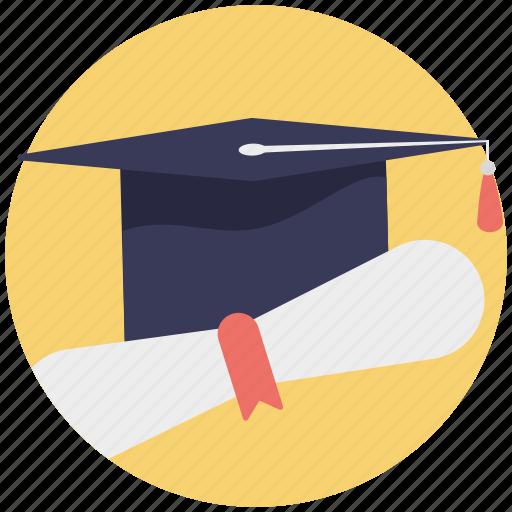 education concept, graduate degree, graduation, mortarboard with degree icon