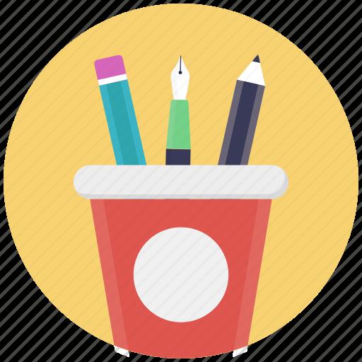 desk organizer, desk supplies, geometry case, pencil case, pencil holder icon
