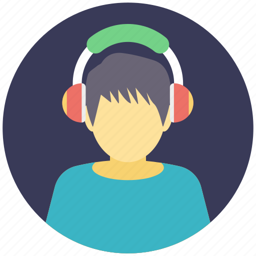 boy wearing headphones, boy with headphones, boy with microphone, faceless avatar, music listening icon