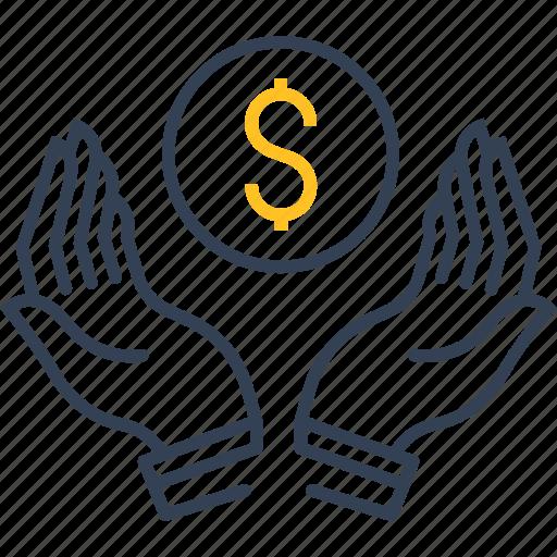 education, hands, money, study icon