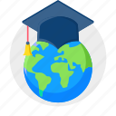 cap, diploma, education, global, graduate, graduation, international icon