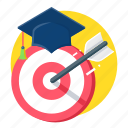 achievment, aim, ambition, archery, education, graduation, study icon