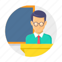 classroom, lacture, presentation, school, speech, teaching icon
