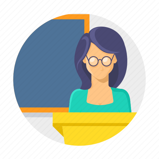 classroom, female, presentation, professor, teacher, teaching icon