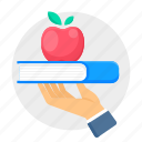 book, education, knowledge, hand, apple icon