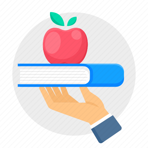 apple, book, education, hand, knowledge icon