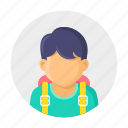 bag, boy, kid, school, school time, student icon