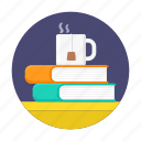 books, coffee, cup, read, relax, time icon