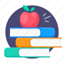 apple, books, education, knowledge, reading, study icon