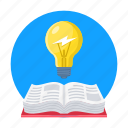 book, bulb, idea, learn, reading icon