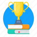 trophy, cup, winner, award, book, education, achievement icon