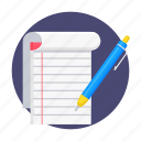 education, notes, paper, pen, pencil, write, writing icon
