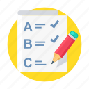 pencil, abc, exam, question, answer, test, education icon