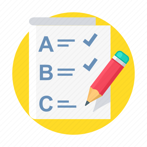 abc, answer, education, exam, pencil, question, test icon