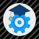 education, graduation, grear, settings icon