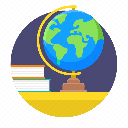 desk, education, globe, schedule, study, time icon