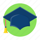 education, graduate, graduation, hat, study icon