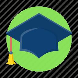 education, graduate, graduation, hat, study icon