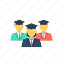 classmates., degree holder students, education and students, graduate students, students and learning icon
