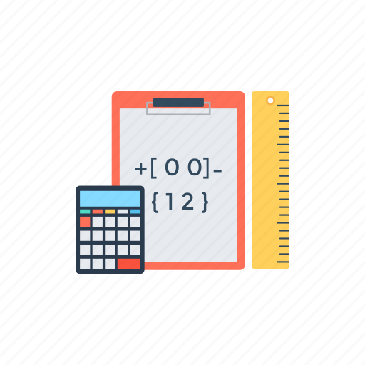 accounting and numbers, calculating mathematics, calculations, statistics, testing and measurements. icon