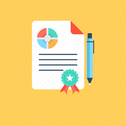 colorful report, designed report, paper document, report paper, writing on report. icon