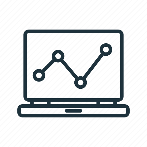 analytics, chart, graph, laptop, report, statistics icon
