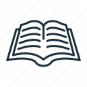 book, education, knowledge, library, literature, open book icon