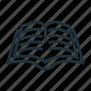 book, education, knowledge, library, literature, open book icon