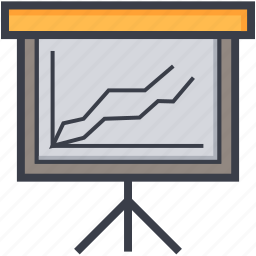 analysis, presentation, projection screen, statistics, stats icon