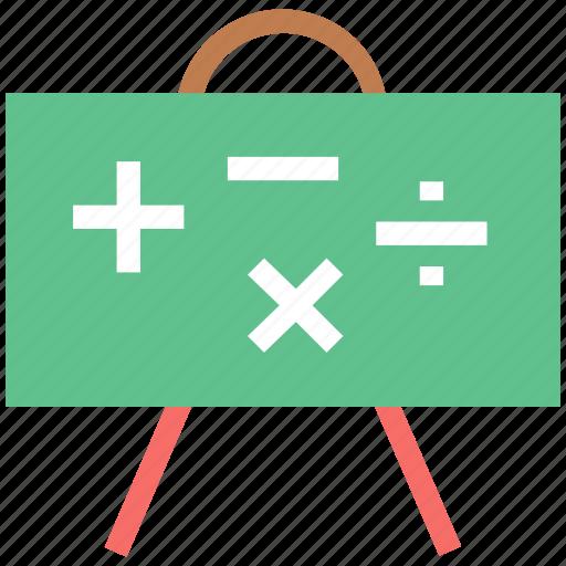 classroom, math class, math symbols, reading, whiteboard, writing board icon