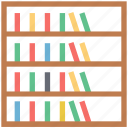 books rack, books storage, bookshelf, furniture, library, study room icon