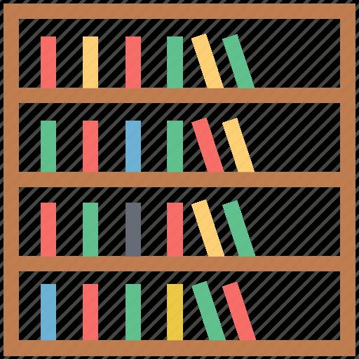 books rack, books storage, bookshelf, furniture, library, study room icon