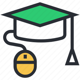 computer mouse, e learning, mortarboard, online education, online study icon