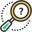anonymous search, magnifier, magnifying lens, question mark, unknown search icon