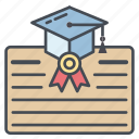 award, certificate, certification, degree, diploma, graduate icon