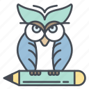 education, knowledge, learning, owl, science, wisdom icon icon